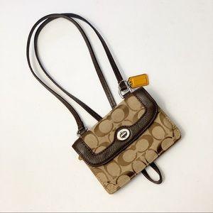 Coach Brown & Tan Crossbody Mini Bag Wallet